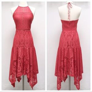 Parker lace midi halter dress color ember M